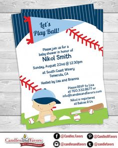 Future Baseball Player  Baby Shower Invitation by CandlesandFavors