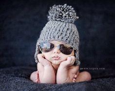Baby Pom Pom Hat, Baby Boy Hat, Crochet Gray Earflap Hat, Photo Prop, Infant Boy Hats, Pompom Boy Hat, Earflap Boy Hat