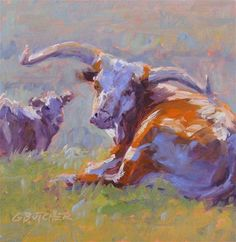 """Daily Paintworks - """"#38 Longhorn Mama and Calf"""" - Original Fine Art for Sale - © Ginny Butcher"""