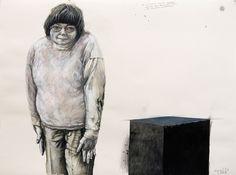 """Malte Brekenfeld, """"Stefanie möchte ein Mal auf dem Dach der Kaaba stehen und Steinchen herunterwerfen"""", 2008 (Mischtechnik auf Bütten, 55 × 75 cm)"""