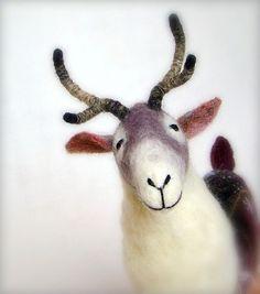 Ingemar  Felt Reindeer Art Puppet Marionette by TwoSadDonkeys