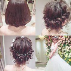 wedding hair ボブでも 可愛くアレンジできます #ヘアアレンジ #ウェディング #コーデ #マリhair by brillantmari