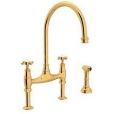 Rohl U4718 Perrin and Rowe High-Arc Bridge Kitchen Faucet, Available in Various Colors, Gold