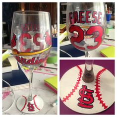 St. Louis Cardinals hand painted wine glass