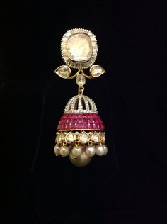Ruby and Diamond jhumkas