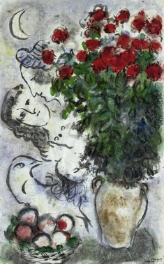 Marc Chagall (1887-1985) Bouquet de roses rouges