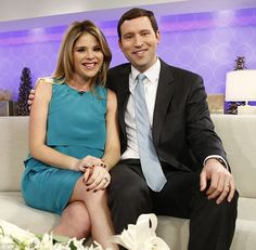 Happy couple: Jenna Bush Hager and Henry Hager posed on the set as they confirmed they're expecting their first child