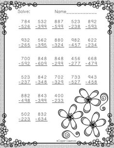 Spring Themed 3 Digit Subtraction With Regrouping Math Practice Worksheets, School Worksheets, Kindergarten Lessons, School Lessons, Dj Inkers, Math Sheets, Math Practices, 3rd Grade Math, Math For Kids