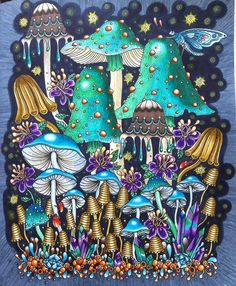 """WIP NO MORE 🙌 I love this page in Hanna Karlzons gorgeous book Sommarnatt💙💚💙 And it was nice to take time out from my own coloringbook """"Bland ugglor och förgätmigej"""" Have a great week dear coloring pals ❤️🤗 Mushroom Drawing, Mushroom Art, Psy Art, Hippie Art, Color Pencil Art, Arte Popular, Coloring Book Pages, Psychedelic Art, Whimsical Art"""