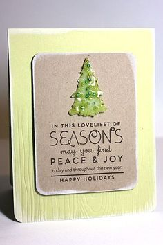 Custom Accents From The Oven Challenge - Loveliest Of Seasons Card (Shrink Plastic Tree Embellished with UTEE) by Heather Nichols for Papertrey Ink (August 2013)