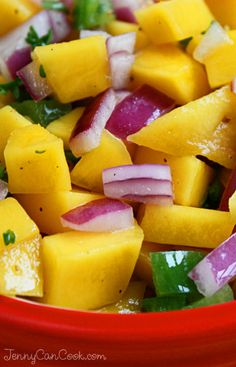 Mango Salsa recipe from Jenny Jones (JennyCanCook.com) - Loaded with antioxidants, easy to make. #JennyCanCook