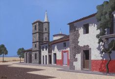 'Guijo de Calisteo' Oil on canvas: 24 x 34 cm Signed by Tristram Hillier RA – Charles Sheeler, Urban Landscape, New Words, Paintings For Sale, Architecture Art, Oil On Canvas, British, Fine Art, Artist
