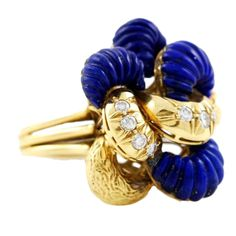 Gold Lapis Lazuli and Diamond Knot Ring