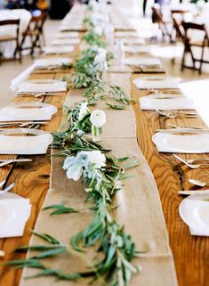 elegant white flower and olive branch wedding table garland (wedding table decoration marsala) Wedding Table Garland, Unique Wedding Centerpieces, Wedding Table Decorations, Wedding Table Settings, Rustic Table Settings, Rectangle Table Centerpieces, Rectangle Wedding Tables, Bridal Table, Centerpiece Ideas