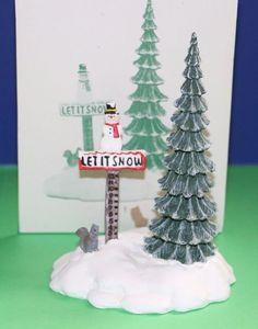 Dept. 56 Heritage Village accessory Village Let It Snow Snowman Sign #52594 #babescollectibles