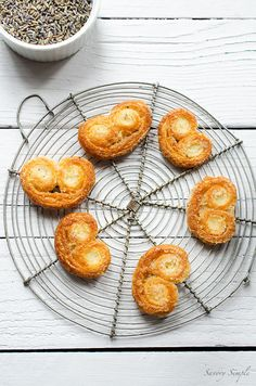 Lavender Vanilla Bean Palmiers are a simple yet elegant cookie. Only 5 ingredients! Make with fresh puff pastry or leftover scraps.