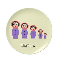 "Thankful Plate ""Russian Stacking Dolls Matryoshka"" $24.95 cartoon art  creative"