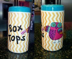 I made a Box Tops container (using an empty Clorox Wipes tub) for my classroom...100% Pinterest inspired!