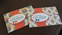 Birthday gift card holders using simply sketched happy birthday wishes stamp and sycamore street dsp. Brights candy dots. Stampin up market ideas.