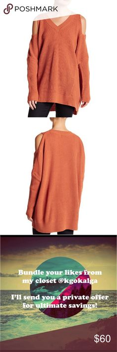 """Ro & De Rust Wool Cold Shoulder High Low Pullover Rust orange oversized knit V-neck. Long sleeves with shoulder cutout. High low hem. Marked extra small but it can fit up to a large.   Measurements are approximate.  Laying flat:  Armpit to armpit: 29"""" Length: 29 - 31.5"""" Fabric: 70% acrylic, 30% wool Ro & De Sweaters V-Necks"""