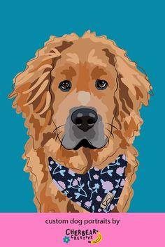 Custom Dog Portraits by Cherbear Creative Studio Food Dog, Bandana Bow, Sarah Walker, Custom Dog Portraits, Etsy Business, Creative Studio, Your Best Friend, Dog Training, Dog Breeds