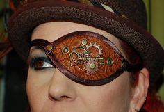 Darkwear Clothing  Brown Vinyl Steampunk Eyepatch by Darklysewn, $28.50