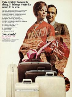 Vintage Samsonite Luggage Travel Ad - 1960's Silhouette Suitcases - parents gave me a white set after high school graduation, to go away to school....all of 40 miles away.