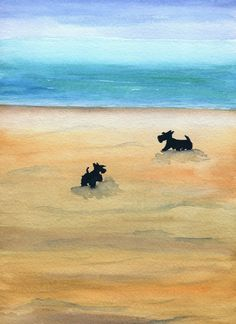 Scottie Dogs Day At The Beach Art Print