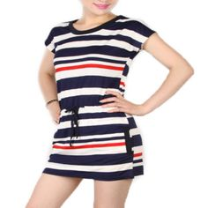 Fashion Blue Stripe Cotton Women Dress – Daisy Dress For Less