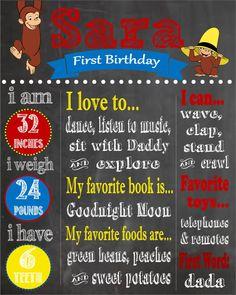 Curious George Printable First Birthday by PintSizePartyDesigns, $15.00