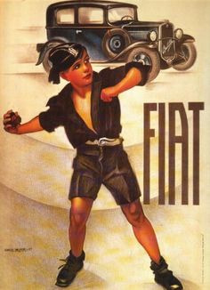 CARS Advertising GraphicArt - Fiat Balilla, sign: (Gros Mont...) - Fascist Poster car, original Vintage