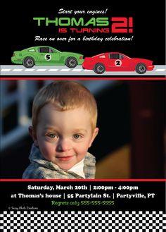 Race car birthday invitation, printable birthday invitations. $15.00, via Etsy.