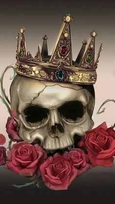 Skull with roses and crown tattoo art idea Tattoo Drawings, Body Art Tattoos, Art Drawings, Tatoos, Tattoo Crane, Totenkopf Tattoos, Neue Tattoos, Geniale Tattoos, Skulls And Roses