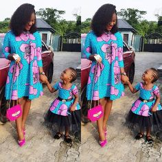 2018 Trending Ankara Styles for Hot and Classy Fashionistas African Dresses For Women, African Attire, African Wear, African Fashion Dresses, Mother Daughter Fashion, Mother Daughters, Mom Daughter, Mommy And Me Outfits, Cute Outfits