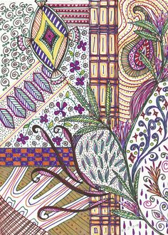 Colorful Zentangle by Kristin Duncan / http://ladykristianna.blogspot.ca/2010/02/colorful-zentangle.html