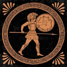 Ancient greek warrior with a spear and s. Ancient Greek Tattoo, Ancient Greek Art, Egyptian Art, Ancient Greece, Ancient Art Tattoo, Ancient Aliens, Ancient Egypt, Ancient History, Greek Mythology Tattoos
