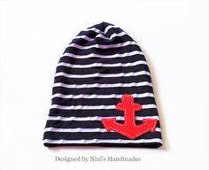 dca1446e80a Items similar to Nautical Jersey Knit Navy and White striped Slouchy Hat  with Anchor