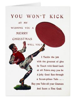 Vintage Rugby Christmas Card.  Vintage Victorian Xmas card. Send one to a rugby follower this Christmas https://www.zazzle.com/vintage_rugby_christmas_card-137049402968587532 #rugby #vintage #cards #Christmas #Xmas