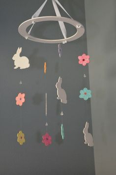 Flower and Bunny Nursery Mobile – Flutter Bunny Boutique, LLC