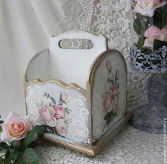 """Купить Короб корзина """"Розы ретро"""" 2 варианта - белый, короб для хранения, короб"""