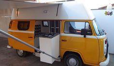 Van outside . Indoor kitchen: solar panel, 150 l water box, . Vw T3 Camper, Volkswagen Bus, Kombi Trailer, Trailers, Kombi Food Truck, Kombi Interior, Kombi Pick Up, Bus Remodel, Kombi Home