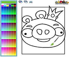 Online ausmalbild Angry Birds Pig King