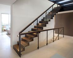 the choice of the type of the staircase and modern staircase design. Latest modern stairs designs and staircase ideas for two story homes and living room with stair railing catalogue 2019 Wood Railings For Stairs, Modern Stair Railing, Stair Railing Design, Metal Stairs, Staircase Railings, Modern Stairs, Railing Ideas, Staircase Ideas, Stair Handrail