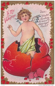 VALENTINE´S DAY; Cupid standing in shell of broken red heart, 00-10s