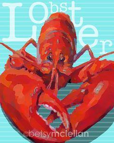 Lobster Art Print by betsymclellanstudio