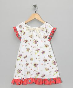 Take a look at this White Floral Ruffle Dress - Infant & Girls by Right Bank Babies on #zulily today!