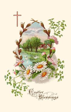 In these nine Easter Printables are illustrations of angels, and flowers, and Easter eggs in rich colors that you can print and use in creative projects. Easter Greetings Images, Easter Greeting Cards, Easter Images Religious, Religious Pictures, Easter Bunny Template, Ostern Wallpaper, Image Halloween, Image Nature Fleurs, Illustrations Vintage