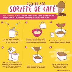 Receita fácil de Sorvete de Café caseiro Good Food, Yummy Food, Tasty, Cooking Tips, Cooking Recipes, Fat Foods, Smoothie Drinks, Ice Cream Recipes, Diy Food