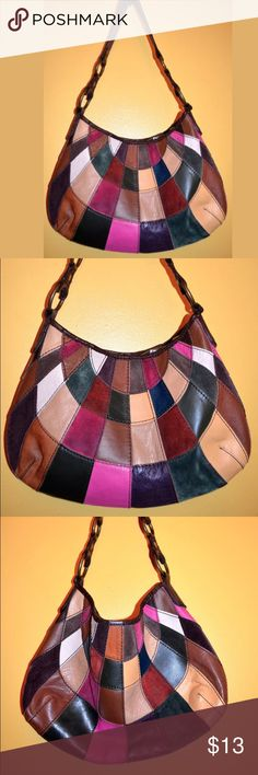 "Lucky Brand Multi Color Patchwork Hobo Vintage VINTAGE STYLE LUCKY BRAND HOBO PATCHWORK HANDBAG... SOFT LEATHER PATCHWORK...SNAP CLOSURE... 1 ZIP AND 2 OPEN POCKETS... 10"" HEIGHT 11"" DEPTH 15"" LENGTH 13"" STRAP DROP Pic's taken with & without flash. *There is some wear on the INSIDE of the strap. FROM A SMOKE FREE HOME. Lucky Brand Bags Shoulder Bags"