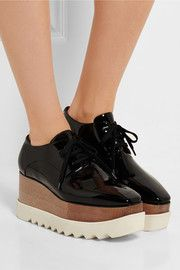 Stella McCartneyFaux patent-leather platform brogues